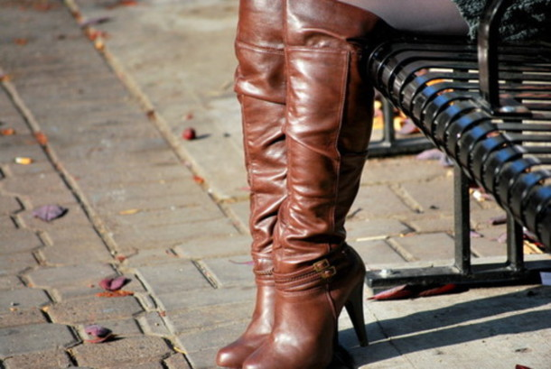 Shoes: boots, leather, brown, slouchy, high heels, over the knee ...