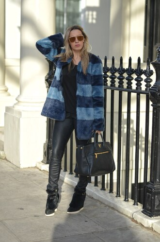 camila carril blogger leather leggings faux fur coat stripes high top sneakers