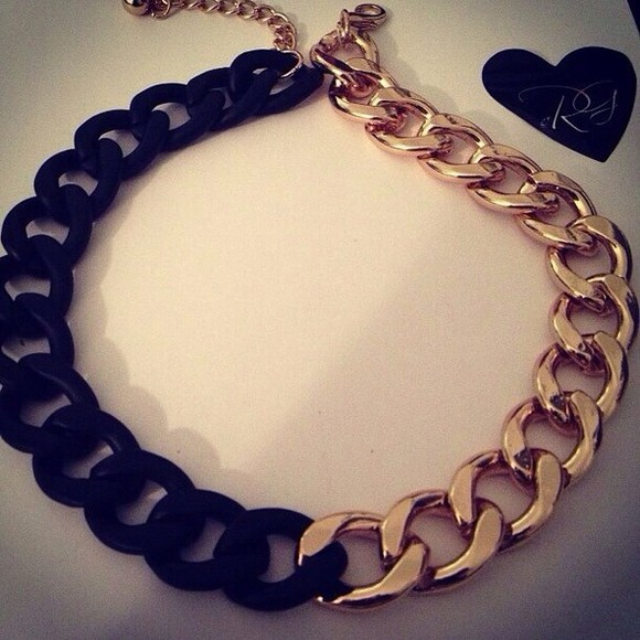 chain jewels necklace gold and black