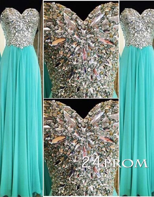 Sweetheart Green A-line Chiffon Long Prom Dresses, Formal Dresses - 24prom