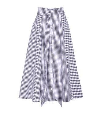 skirt midi skirt midi cotton gingham blue