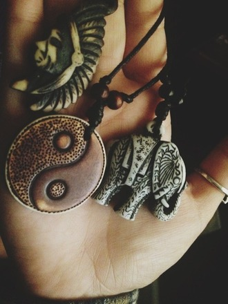 jewels yin yang brown elephant grey head dress necklace indian sun
