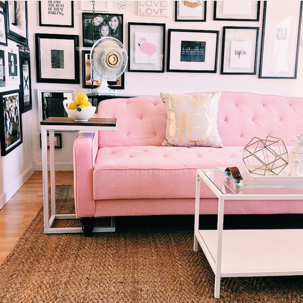 Home Accessory, Tumblr, Living Room, Pink Couch, Couch