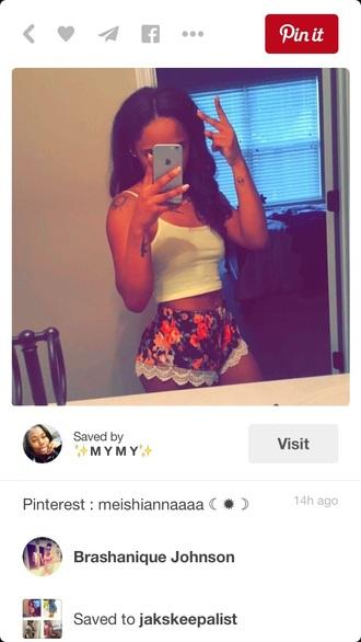 shorts short shorts summer outfits summer summer top summer shorts flowered shorts outfit black girls killin it black girls slayin