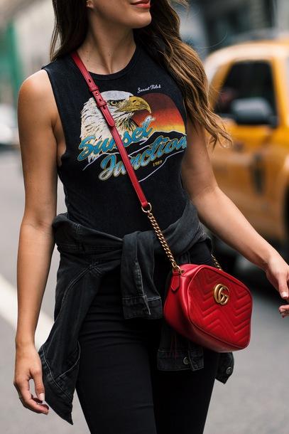 6a341e5c90d top gucci bag gucci tumblr black top sleeveless sleeveless top bag red bag  graphic tee