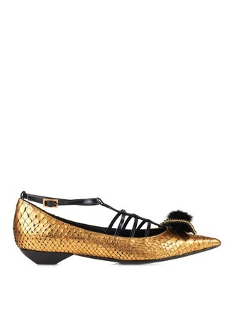 bow fur python flats gold shoes