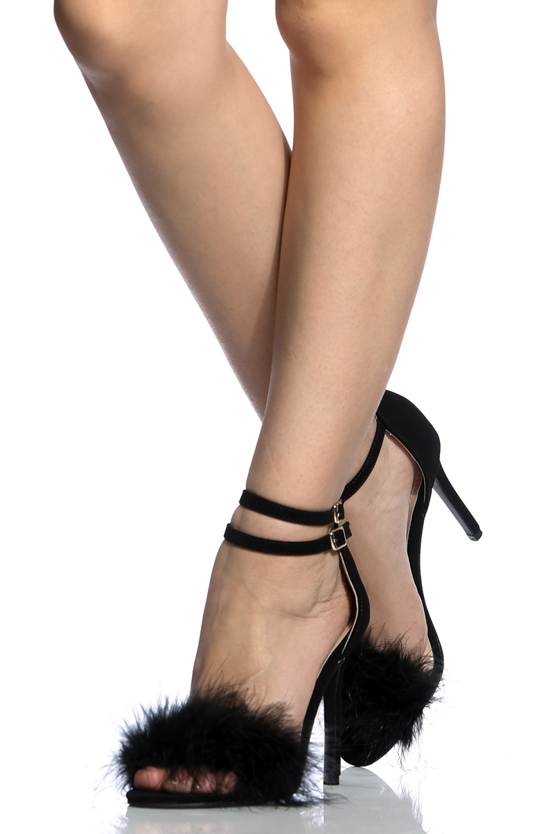 01db1e5a4 Black Faux Nubuck Ankle Strap Fur Single Sole Heels @ Cicihot Heel Shoes  online store sales:Stiletto ...