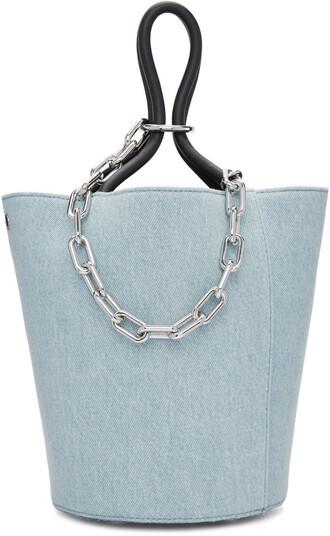 denim bag bucket bag blue