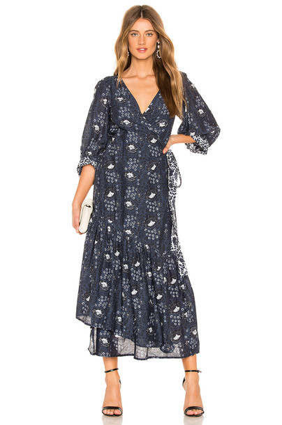 APIECE APART Bougainvillea Wrap Dress in blue