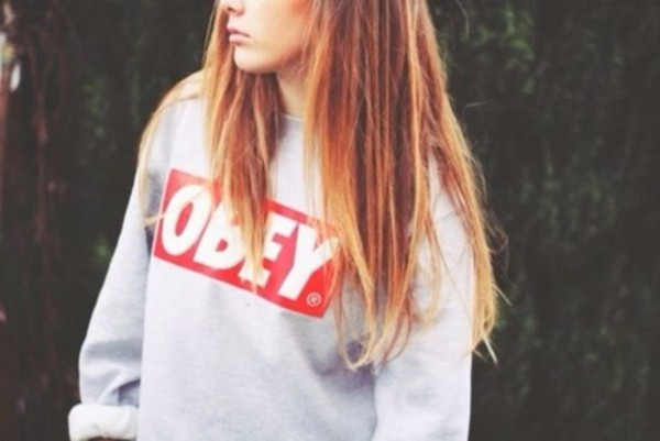 sweater brunette grey obey white red crewneck