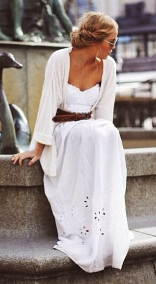dress sundress white dress elegant sunny chic beautiful maxi dress maxi summer summer dress lovely gorgeous classy sweater