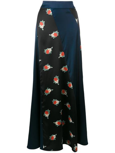 Ganni skirt maxi skirt maxi women spandex floral print blue