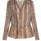 Drawstring waist snake-print silk blouse