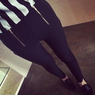 pants black black pants stripes zip ziper blouse