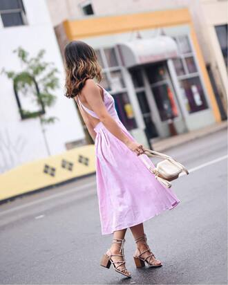 dress tumblr pink dress midi dress open back open back dresses backless backless dress sandals mid heel sandals bag shoes sexy sexy dress