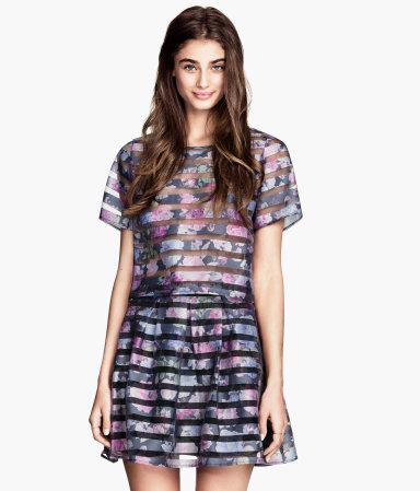 H&m patterned organza blouse $12