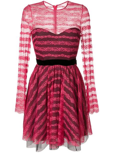 Philosophy di Lorenzo Serafini dress lace dress bow women lace cotton purple pink