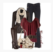 shoes,top,burgundy top,short sleeve,scoop neck,flowy sleeves,jacket,coat,leather jacket,chocolate,brown,boots,knee high boots,heels,high heels,jeans,clothes,outfit