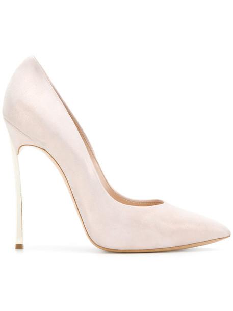 CASADEI women pumps leather suede purple pink shoes