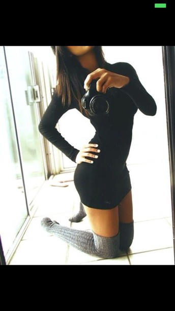 tight long sleeves short small socks knitt tight-fitting dress knee high socks dress long sleeve dress