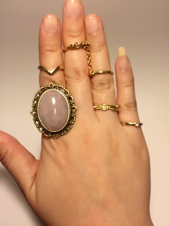 jewels vintage natural stone pink quartz pink jewelry knuckle ring ring gold gold ring