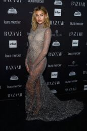 dress,gown,prom gown,prom dress,hailey baldwin,model off-duty,long prom dress,see through dress,see through,NY Fashion Week 2016,sparkly dress,embellished dress