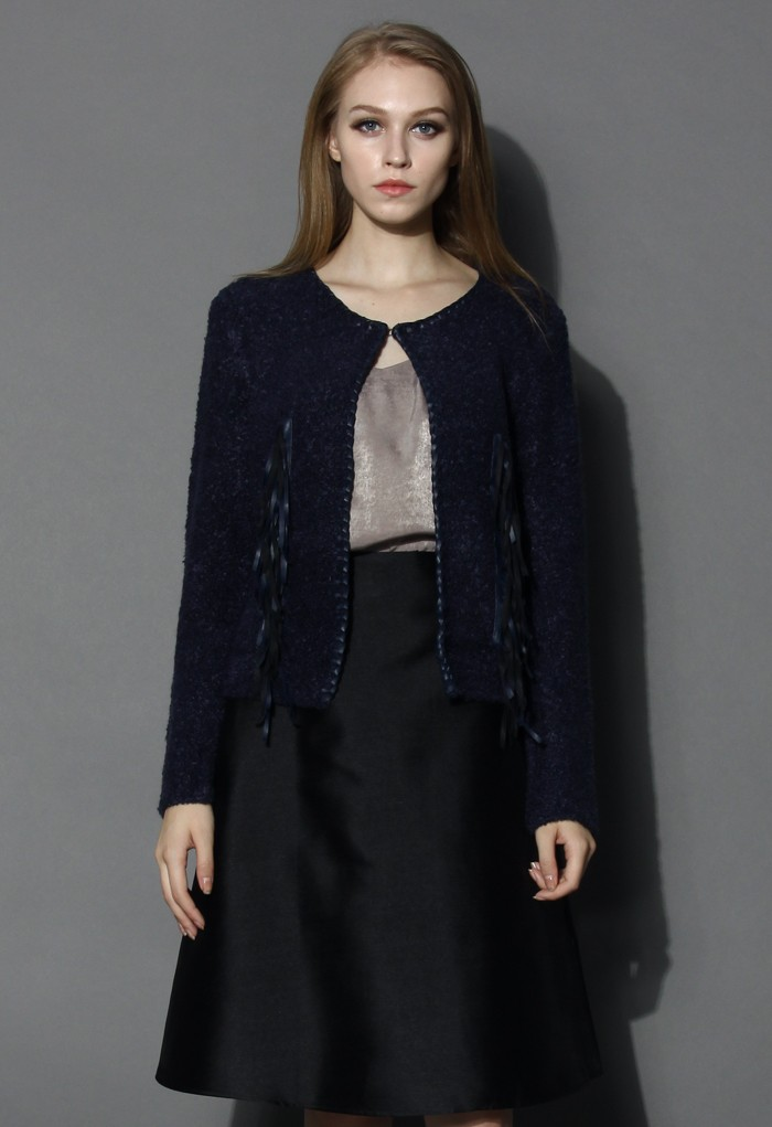 Fringed Knit Coat in Navy - Retro, Indie and Unique Fashion