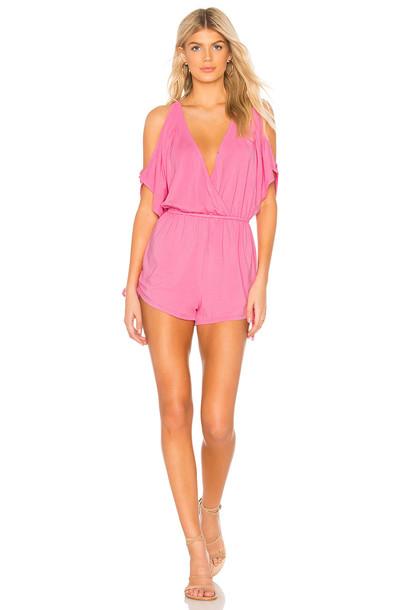 Bobi Draped Modal Jersey Cold Shoulder Romper in pink