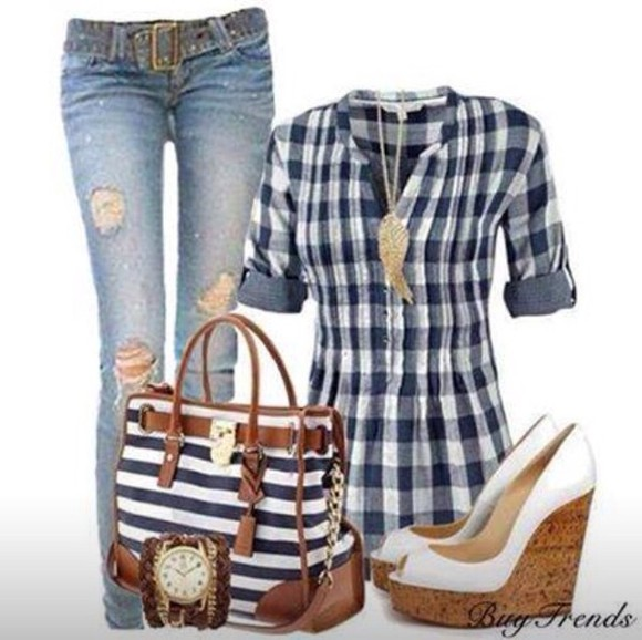 shoes bags bag platform shoes flannel shirt