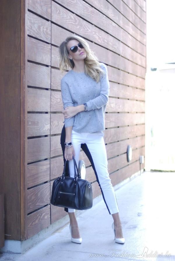 fashion addict pants sweater bag shoes jewels