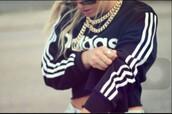 sweater,adidas,black,dope,adidas sweater,gold chain