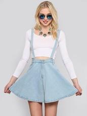 skirt,dress,skater dress,skater skirt,overalls,overall skirt,light jeans,jean skirt,jean skater skirt,jean overall skirt,blue,cute,denim shorts,denim skirt,denim dress,denim overalls,crop tops with overalls,short overalls,style,spring skirt,blue jean skirt,denim