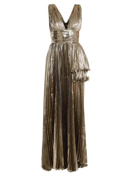 gown pleated silver dress