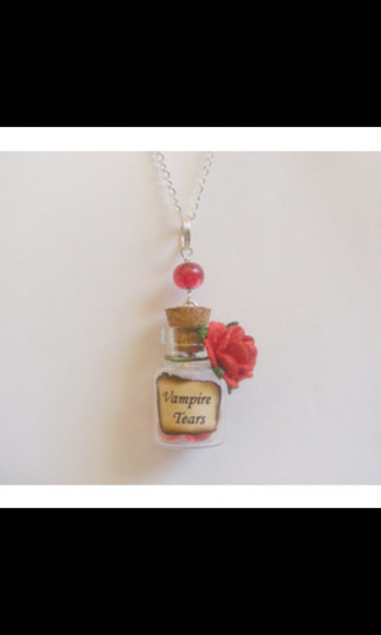 necklace jewels bottle necklace vampire tear