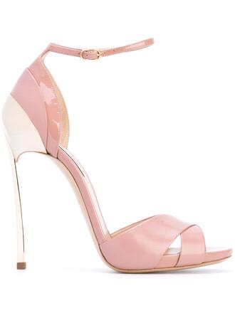 heel metallic women sandals leather purple pink shoes