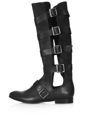 shoes black boots gladiators cut-out edgy punk london new york city bitchy extreme strappy straps buckles futuristic military modern trendy streetstyle hardcore hard slick matrix leather silver metal rocker rock tough rough