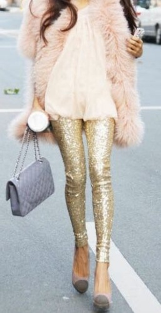 coat fur vest fur coat gold pants