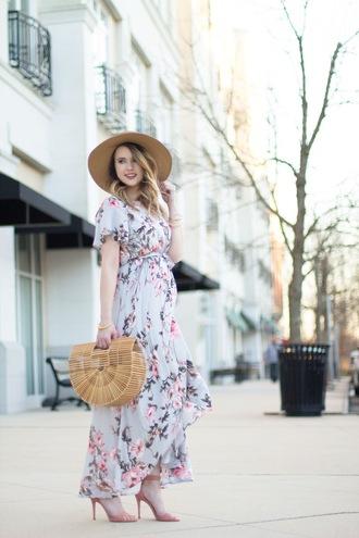 kiss me darling blogger dress shoes bag hat jewels maxi dress floral dress spring dress spring outfits high heel sandals sandals
