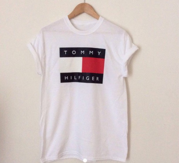 0b1d6f36 t-shirt tommy hilfiger logo white summer navy red tommy hilfiger shirt  clothes top pullover