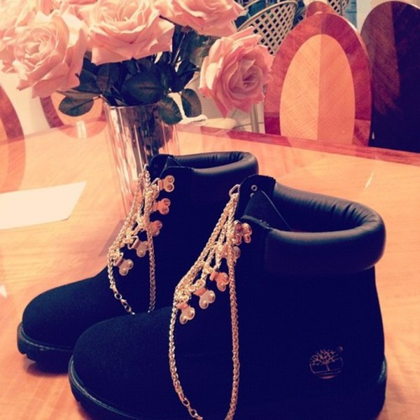 shoes black timberlands timberlands boots gold black swag