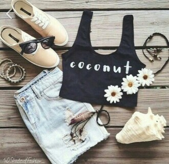 tank top coconuts shoes vans flower headband top crop tops crop black crop top style fashion girly girly wishlist tumblr outfit shorts tumblr tumblr girl tumblr clothes cool streetwear streetstyle summer top summer shorts love lovely hipster sunglasses boho shirt a crop top black hair accessory skirt coconut crop tank