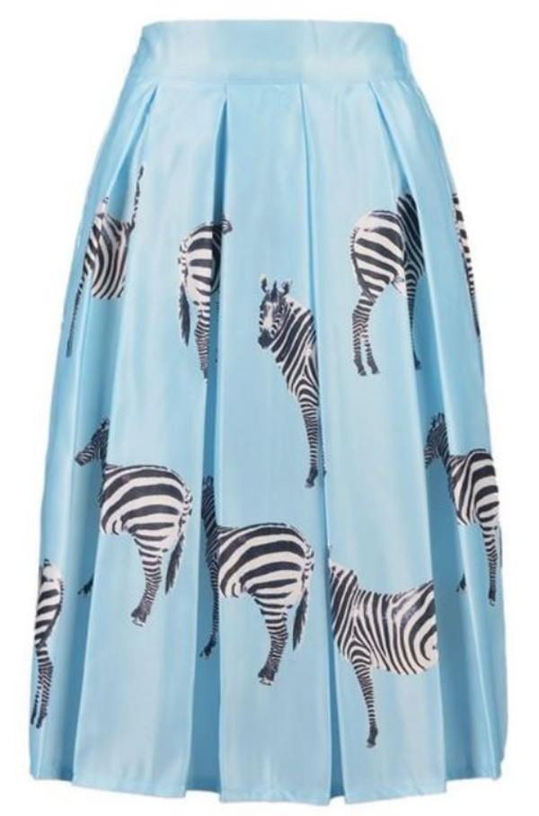 blue skirt blue midi skirt light blue skirt zebra print high waist skirt midi skirt www.ustrendy.com