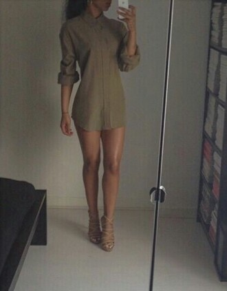 shirt shirt dress oversized shirt olive green collar cute everyday outfit long sleeves shoes strappy heels strappy high heels beige