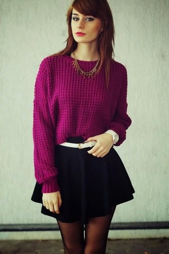 top violet pull maille chic