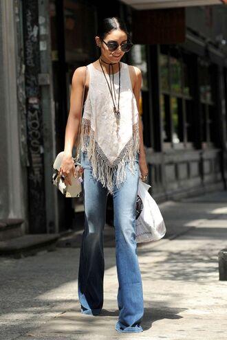 top fringes jeans denim boho vanessa hudgens flare jeans
