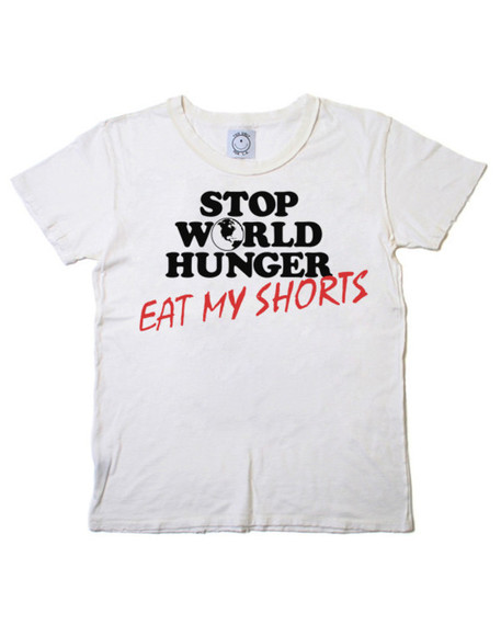 cool funny shirt eat my shorts stop world hunger hipster grunge 90s concert tee festival shirt vintage soft
