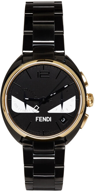 watch gold black black and gold jewels