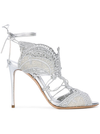 women sandals lace leather grey shoes
