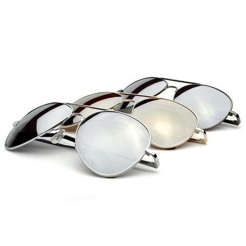 Premium Military Classic Mirrored Lens Metal Aviator Aviators Sunglass                             zeroUV