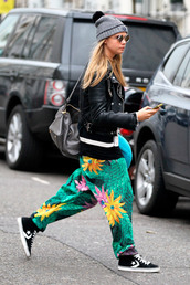 pants,cara delevingne,printed pants,tropical,green,shoes